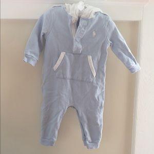 🆕 Ralph Lauren Light Blue Hooded Coverall 9 Month